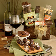 Chocolate Gift Basket with Wine