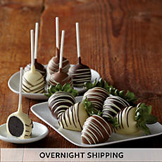 Hand Dipped Chocolate Covered Strawberries and Cake Pops - Half Dozen Each