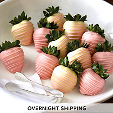 Pink and White Hand Dipped Chocolate Covered Strawberries - One Dozen