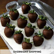 Hand Dipped Dark Chocolate Covered Strawberries - One Dozen